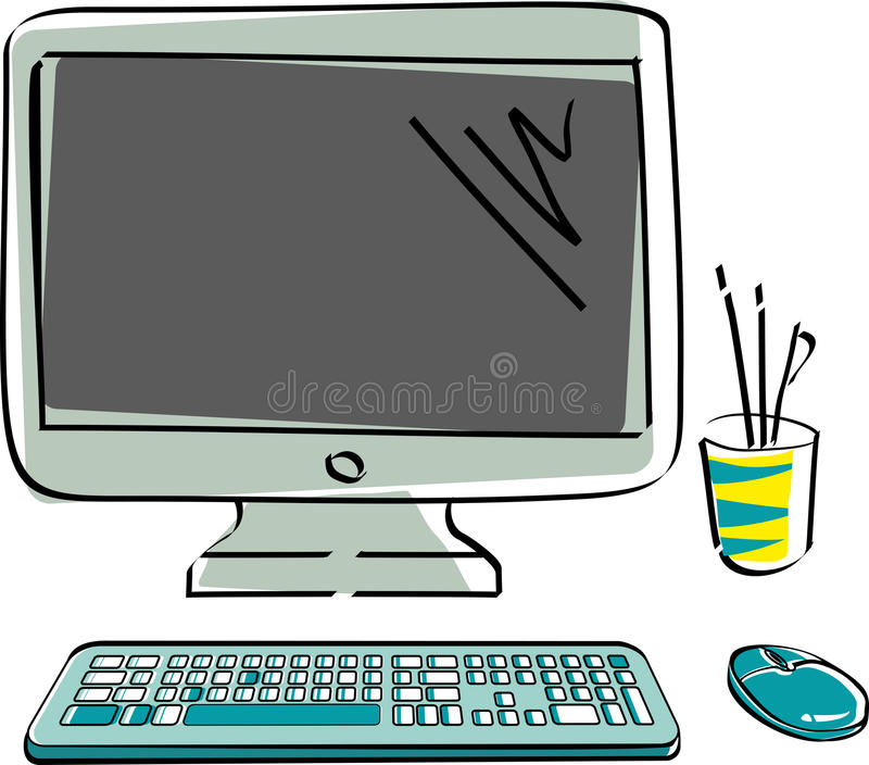 Drawn vector monitor with keyboard and mouse. Computer hardware in color vector illustration