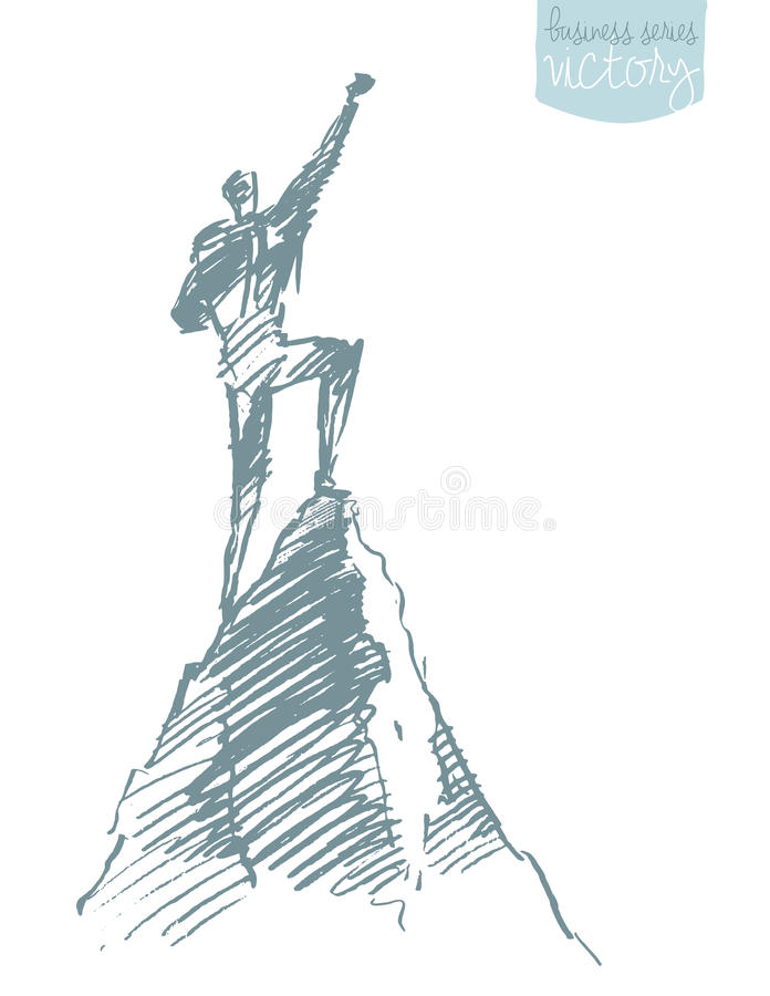 Free Drawn Vector Silhouette Man Top Hill Winner Sketch Royalty Free Stock Image - 83203716