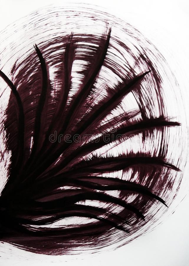 Drawn vibrating lines that converge in one place. The coolness of the movement of the leaves of palm trees. royalty free stock photo