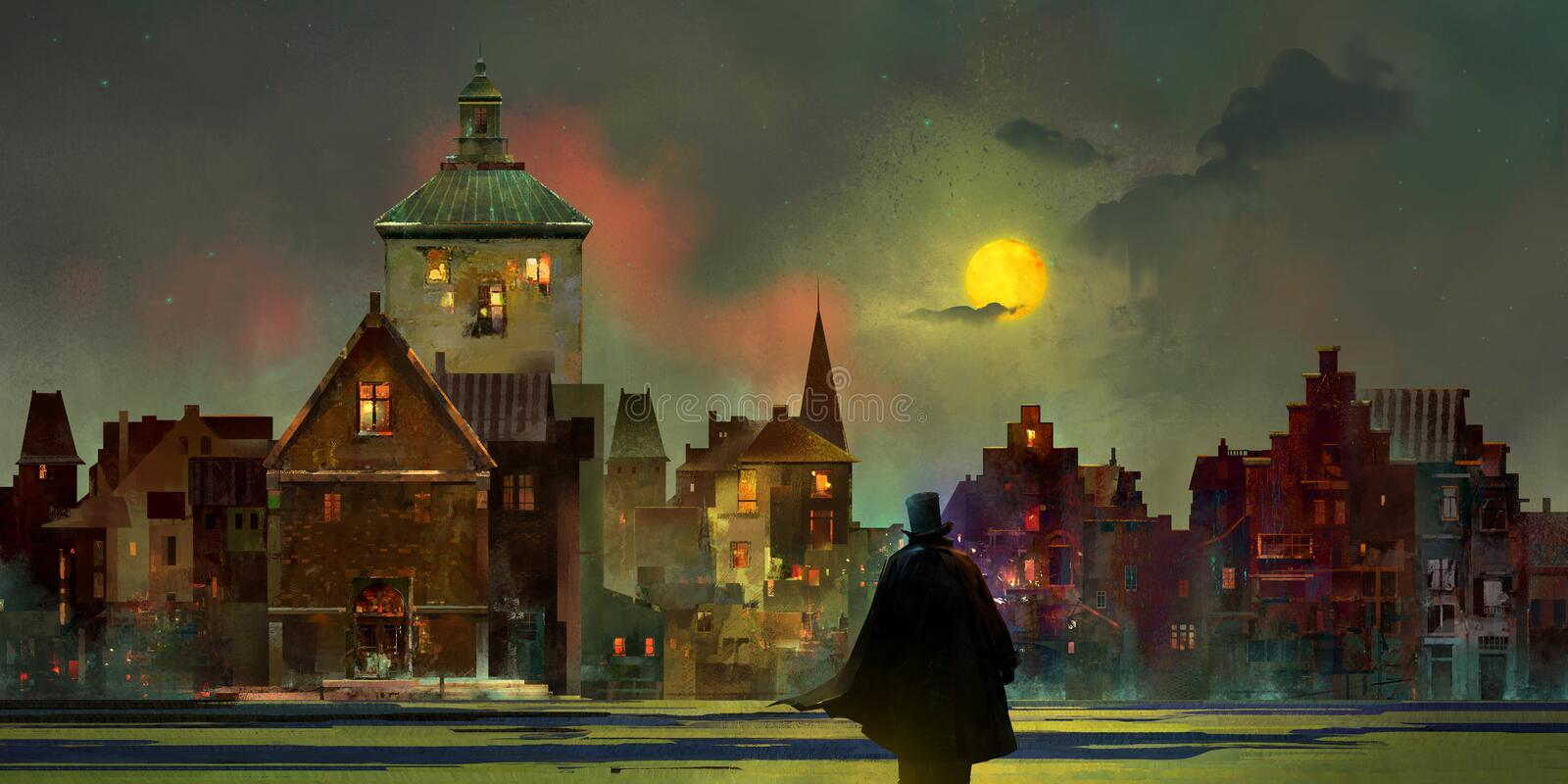 Drawn vintage urban lunar landscape at night with a man in a top hat stock image