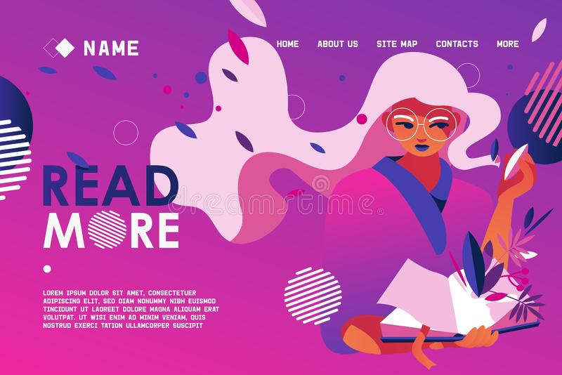 Drawn with vivid pink and purple gradients banner or landing page with reading girl. Library lovers and book store design stock illustration