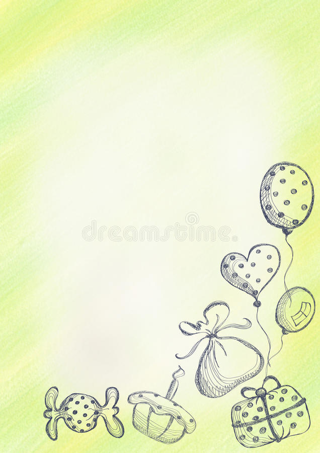 Drawn watercolor background with gift cake air balloons and candy template for letter or greeting card royalty free illustration download drawn watercolor background with gift cake air balloons and candytemplate for spiritdancerdesigns Images