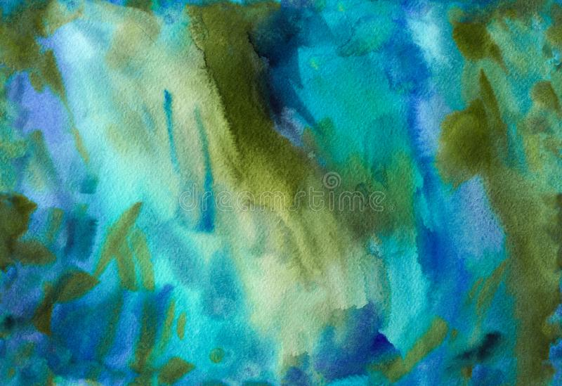 Drawn watercolor seamless pattern with abstract illustration of water stock illustration