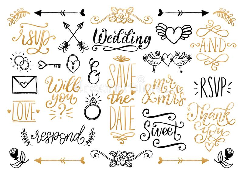 Drawn wedding set of laurels, rings, flowers, hearts etc.Vector handwritten phrases collection Save The Date, RSVP, Love vector illustration