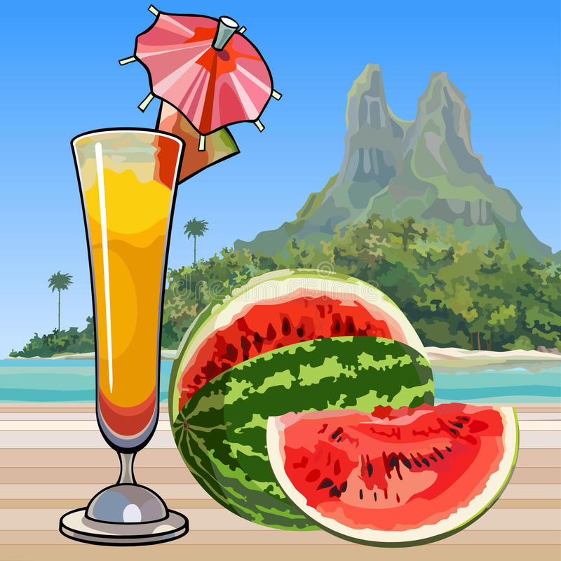 Free Drawn Wine Glass With A Cocktail And Watermelon In The Tropics Royalty Free Stock Image - 89511566