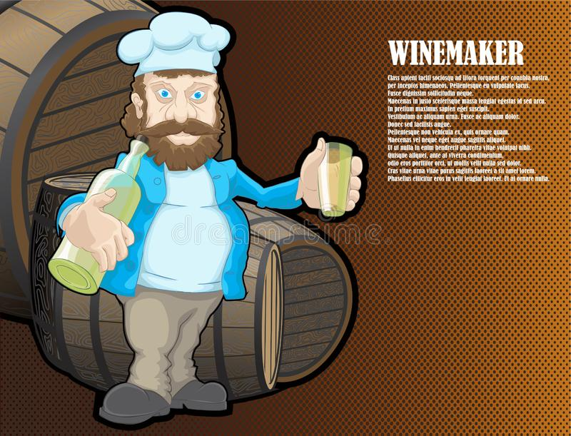 A drawn winemaker character with wine. The winemaker gets drunk at work royalty free illustration