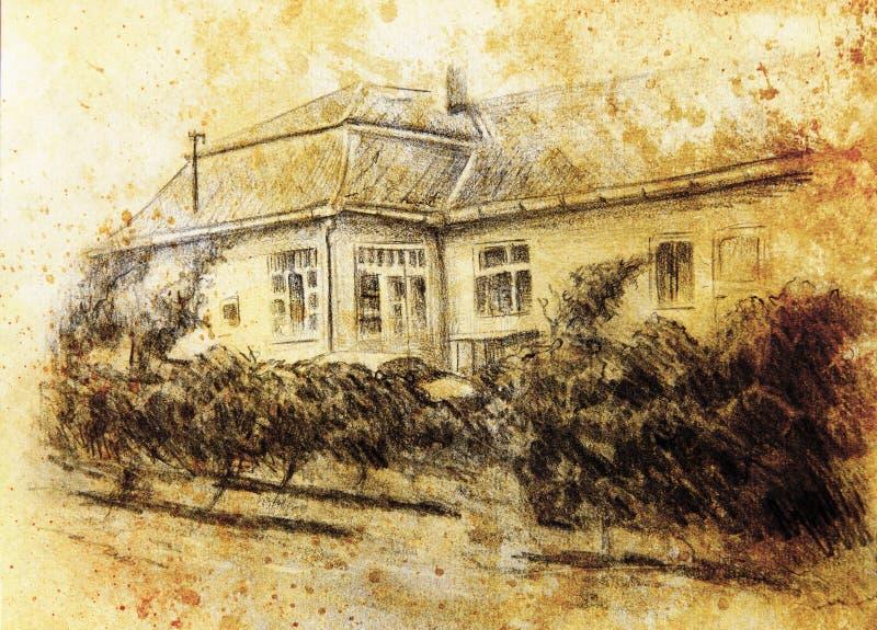 Drawning de crayon d'une maison avec du vin garten dans l'avant Fond de peinture de couleur collage d'ordinateur illustration stock