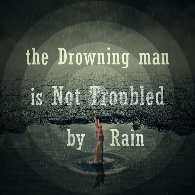 Drawning mężczyzna no niepokoi deszczem obraz royalty free