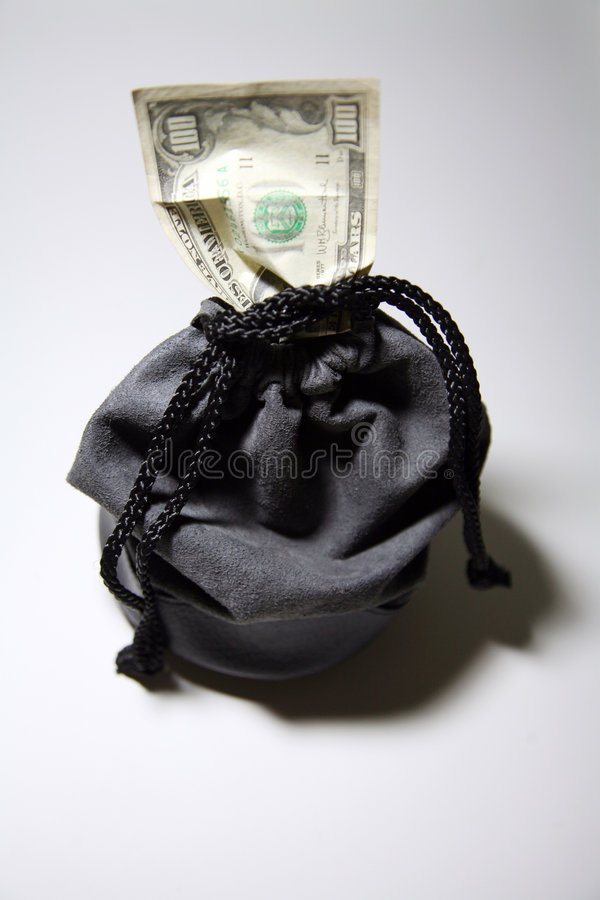 Download Drawstring bag with money stock photo. Image of contain - 4321356