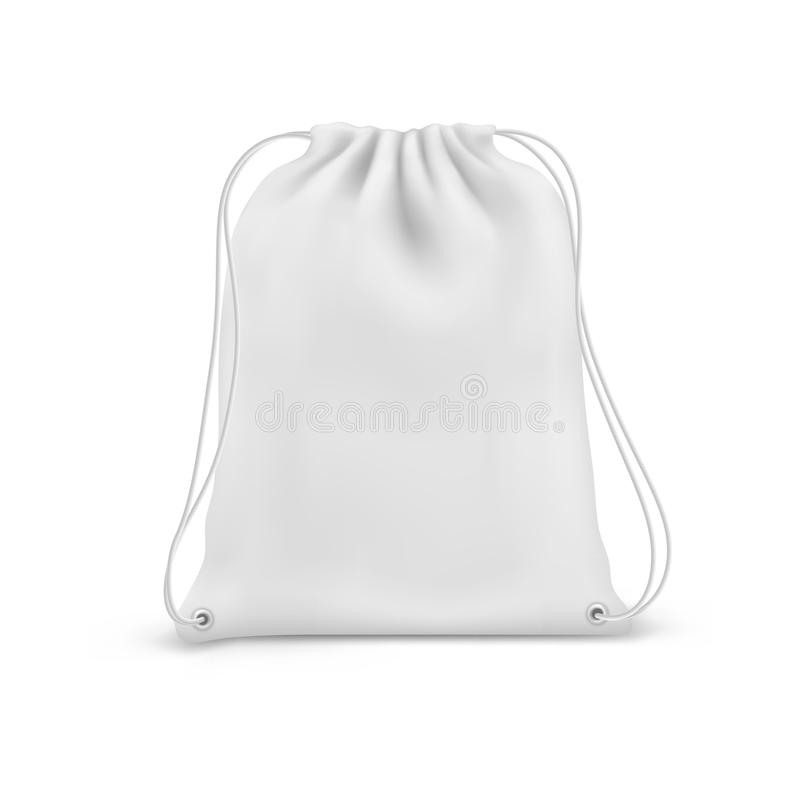 Drawstring bag, school and fitness backpack 3D vector illustration