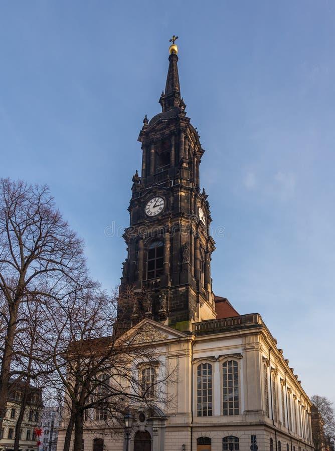 Draykonigskirche - kyrka av de tre vise männen Barock byggnad restes upp i 1739 i Dresden, Tyskland fotografering för bildbyråer