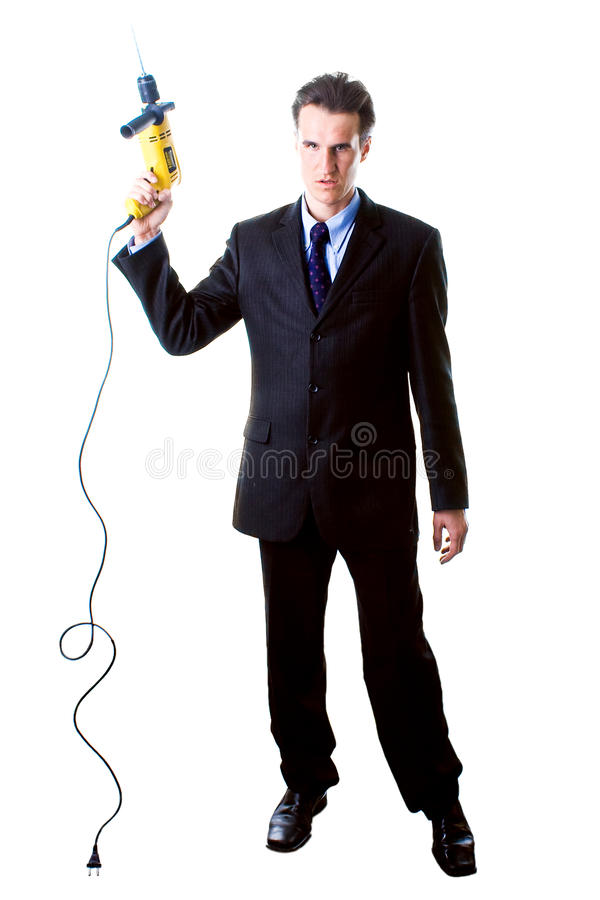 Download Dread Businessman Holding Drill Stock Image - Image of caucasian, power: 11803999