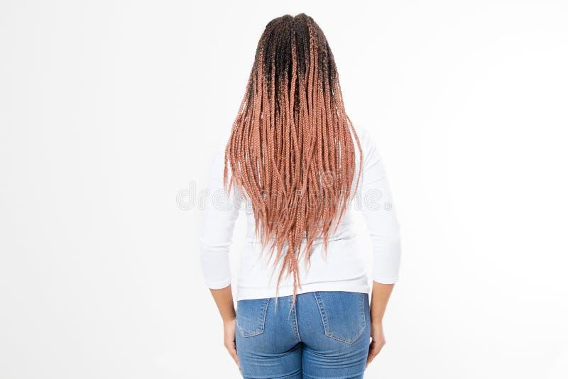 Dreadlocks del rosa de la mujer del primer y trenzas afro Vista posterior afroamericana de la parte posterior del estilo de pelo  fotos de archivo libres de regalías