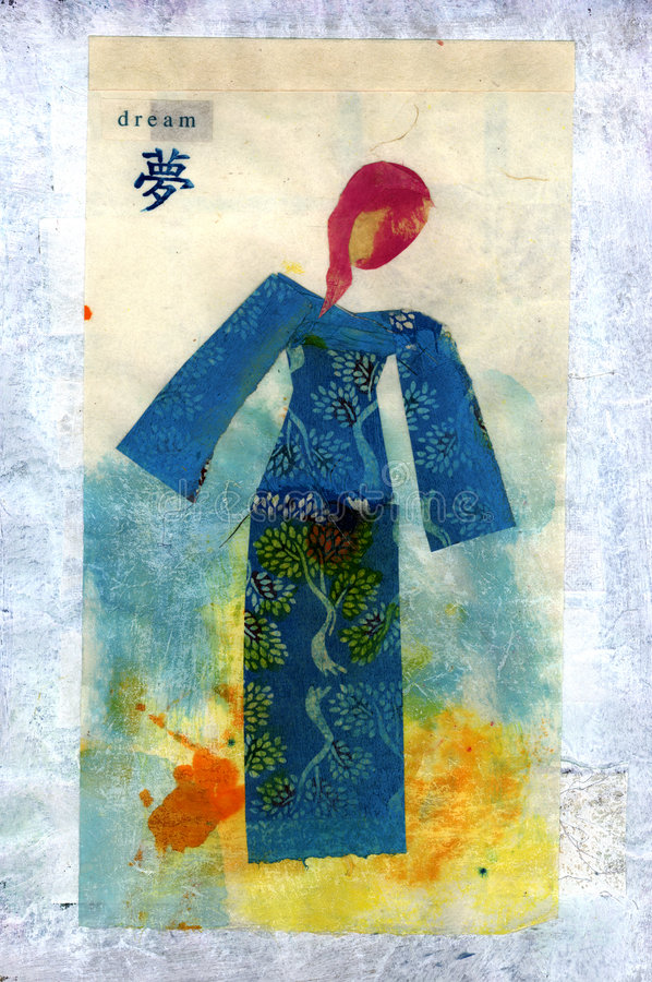 Dream. Mix media collage of a young woman paper doll wearing a tree patterned kimono in a spring background with the word DREAM. The asian character below the