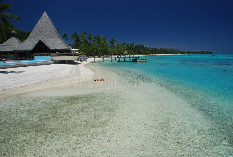 Dream beach. Moorea, French Polynesia. Moorea is a high island in French Polynesia, part of the Society Islands, 17 km northwest of Tahiti royalty free stock photos