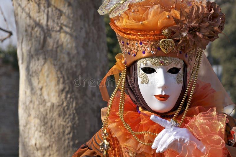 Dream beautiful orange fancy dress stock photo