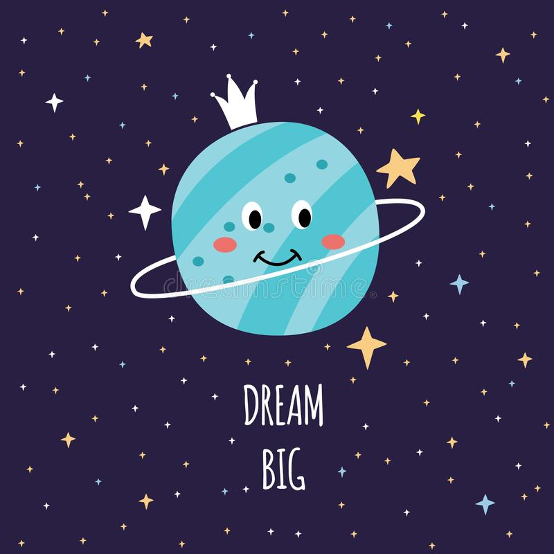 Dream big - cartoon space card with cute smiling Saturn in night sky looking around at stars, royalty free illustration