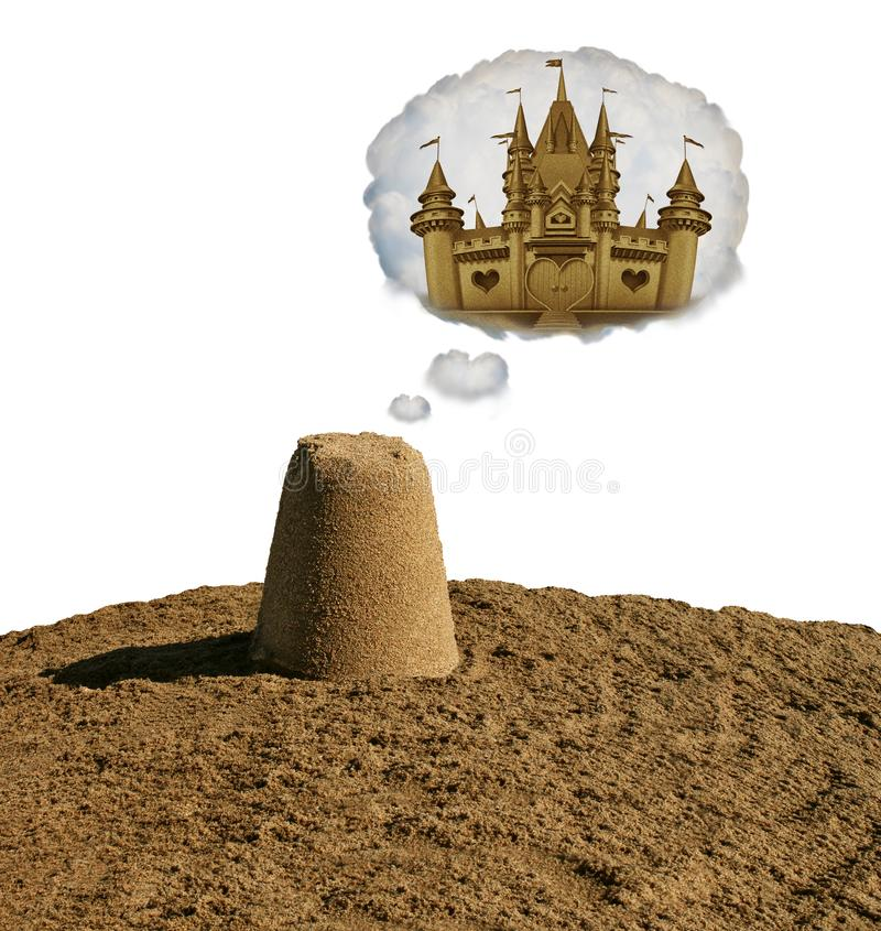 Dream Big Concept. Motivational idea or business development as a small sand pile dreaming to become a sand castle with 3D illustration elements royalty free illustration