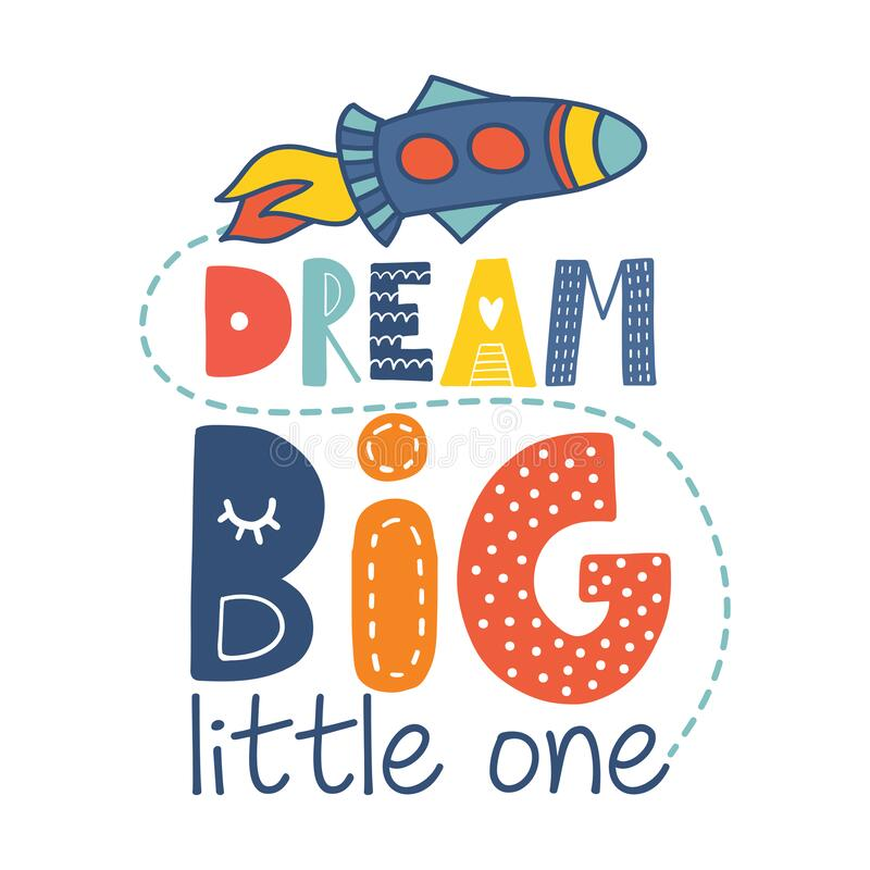 Free Dream Big Little One - Cute Rocket Decoration. Royalty Free Stock Images - 175286359