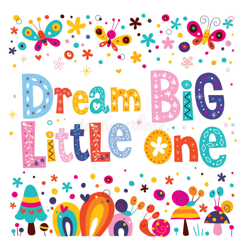 Dream big little one - kids nursery art with cute characters vector illustration