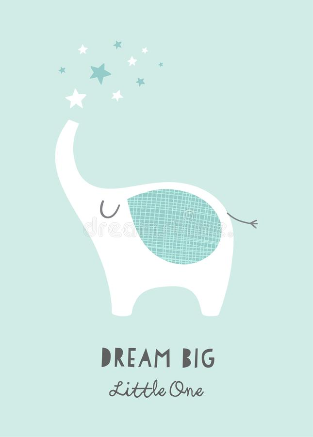 Free Dream Big Little One Nursery Poster With Cute Lephant And Stars. Printable Art For Kids. Baby Illustration In Mint And Royalty Free Stock Images - 156906839
