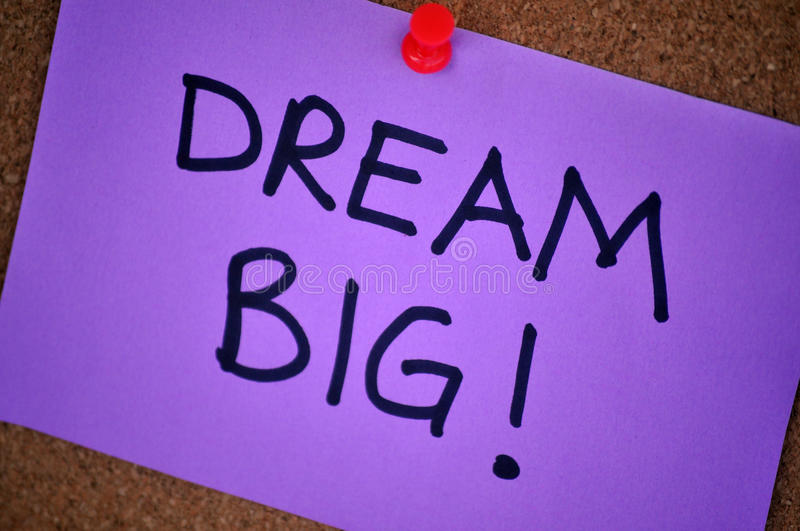 Dream Big Note On Pinboard royalty free stock photo