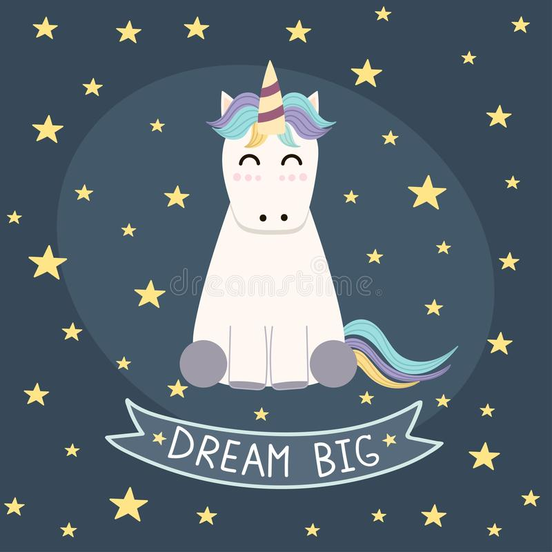 Dream Big poster, greeting card with cute unicorn stock illustration