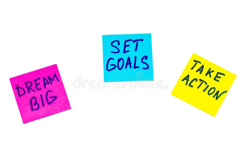 Dream big, set goals, take action concept - motivational advice stock photography