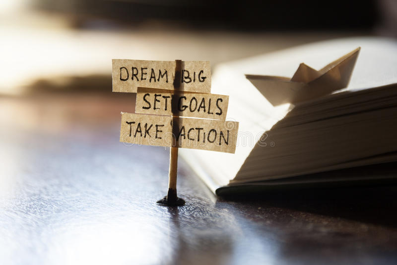 Dream Big, Set Goals, Take Action royalty free stock photography