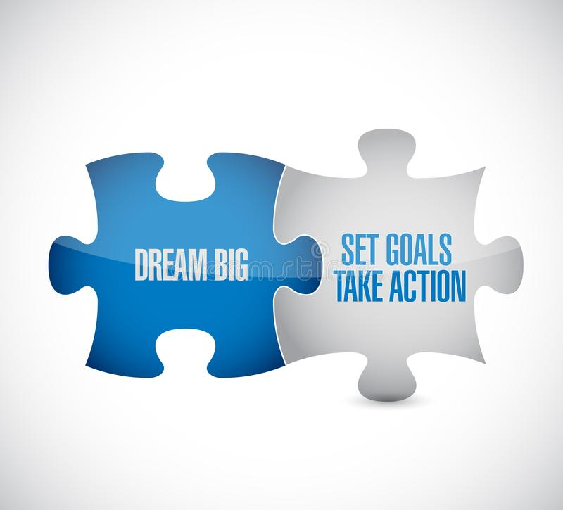 Dream big, set, goals, take action puzzle pieces. Message concept, isolated over a white background vector illustration