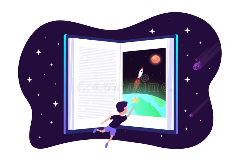 Dream with book. Vector child dreams concept. Kids imagination with space travelling boy and earth and space shuttle. Rocket in night sky. Illustration of book vector illustration