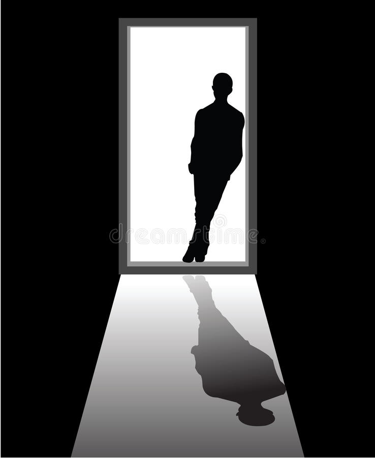 Dream boy. To illustrate a dream boy that appear in front of door stock illustration