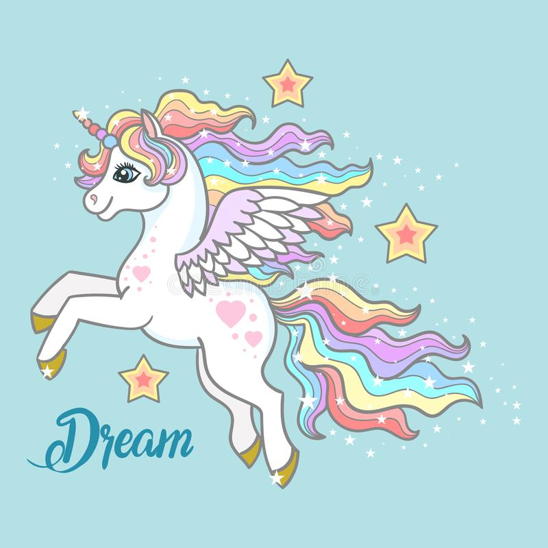 Dream. A beautiful, small unicorn on a blue background. vector illustration
