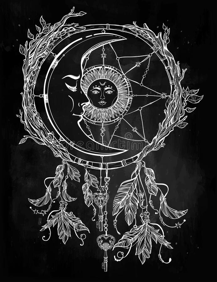 Dream Catcher In The Sun Dream Catcher Adorned With Sun And Moon Inside Stock Illustration 28