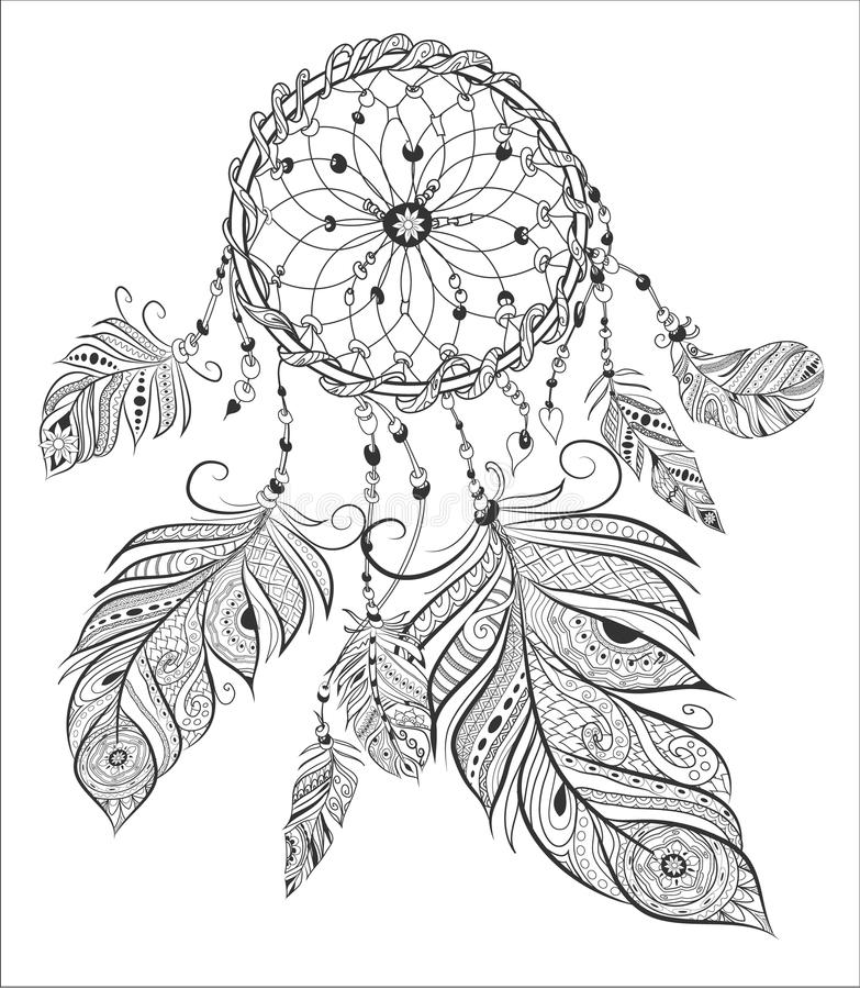 Download Dream Catcher Adult Coloring Book Page Stock Vector
