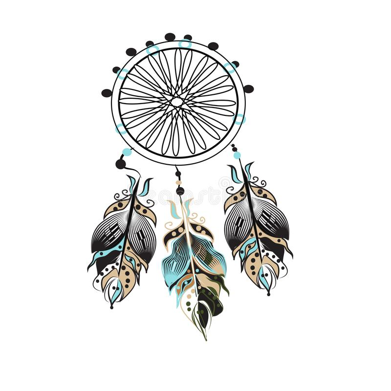 Dream catcher decorated with feathers and beads. Hand drawn vector illustration. Silhouette. stock illustration