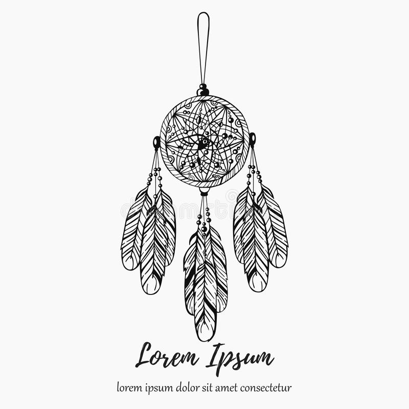 Dream catcher dream hunter line doodle hand drawn vector illustration vector illustration