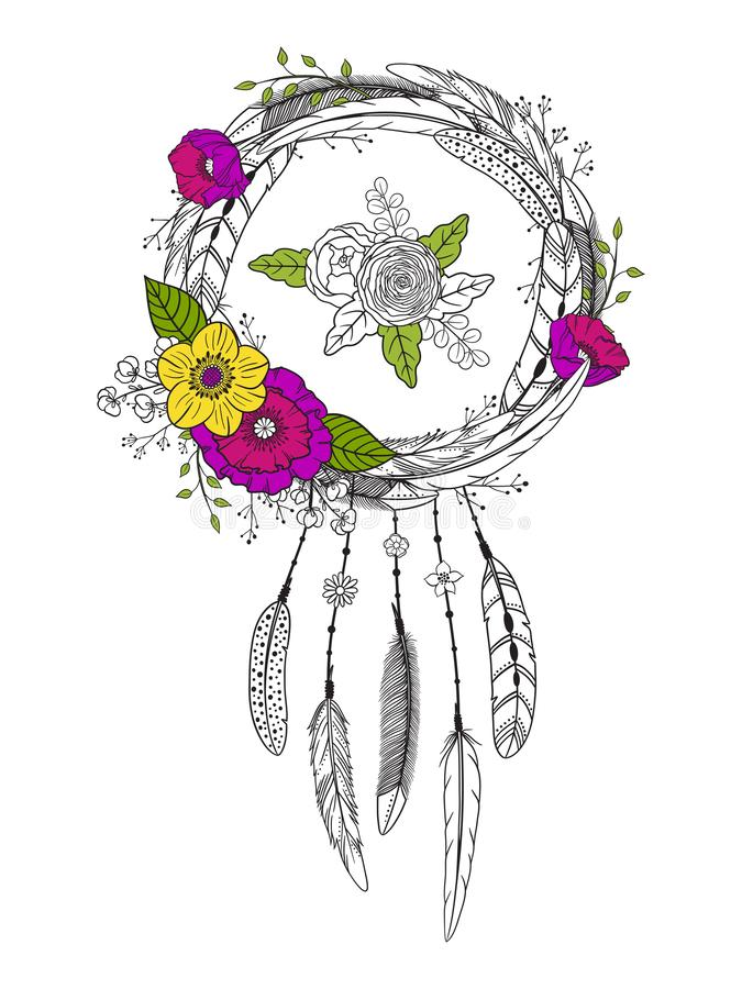 photo about Legend of the Dreamcatcher Printable identify Dreamcatcher With Feathers And Bouquets. Inventory Vector