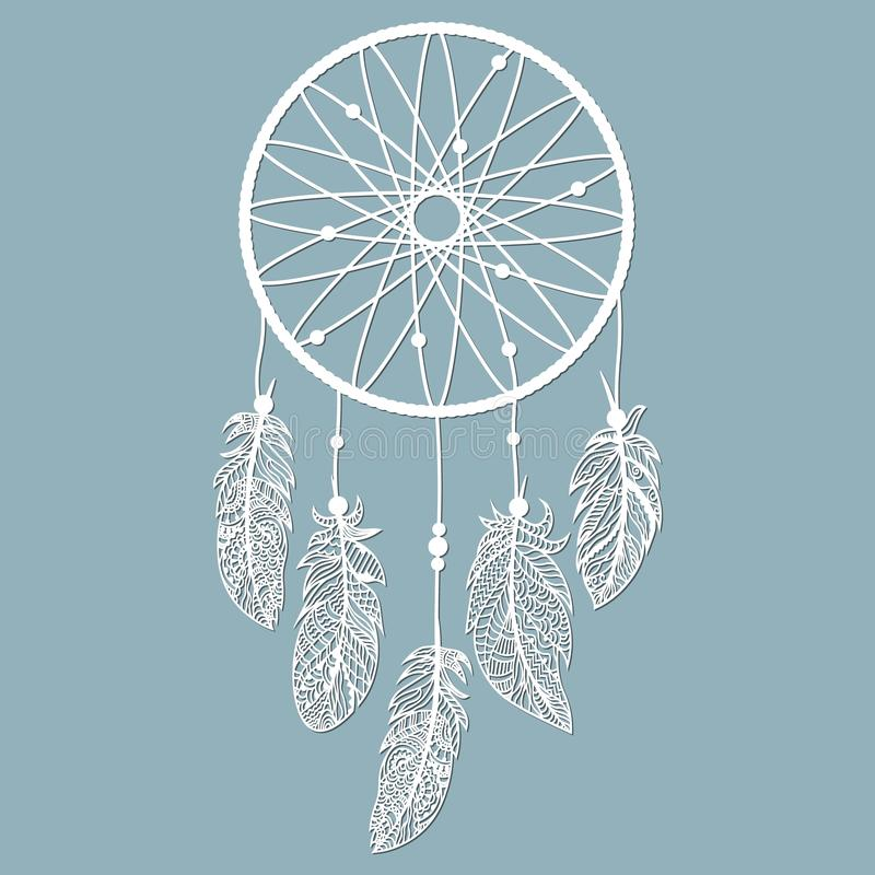 Dream catcher with feathers, laser cut, ritual thing. American boho spirit. Hand drawn sketch vector illustration for tattoos or t vector illustration