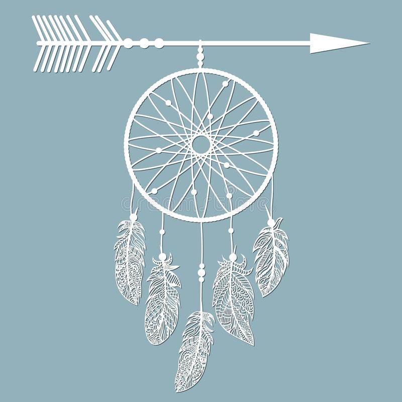 Dream catcher with feathers, laser cut, ritual thing. American boho spirit. Hand drawn sketch vector illustration for tattoos or t royalty free illustration