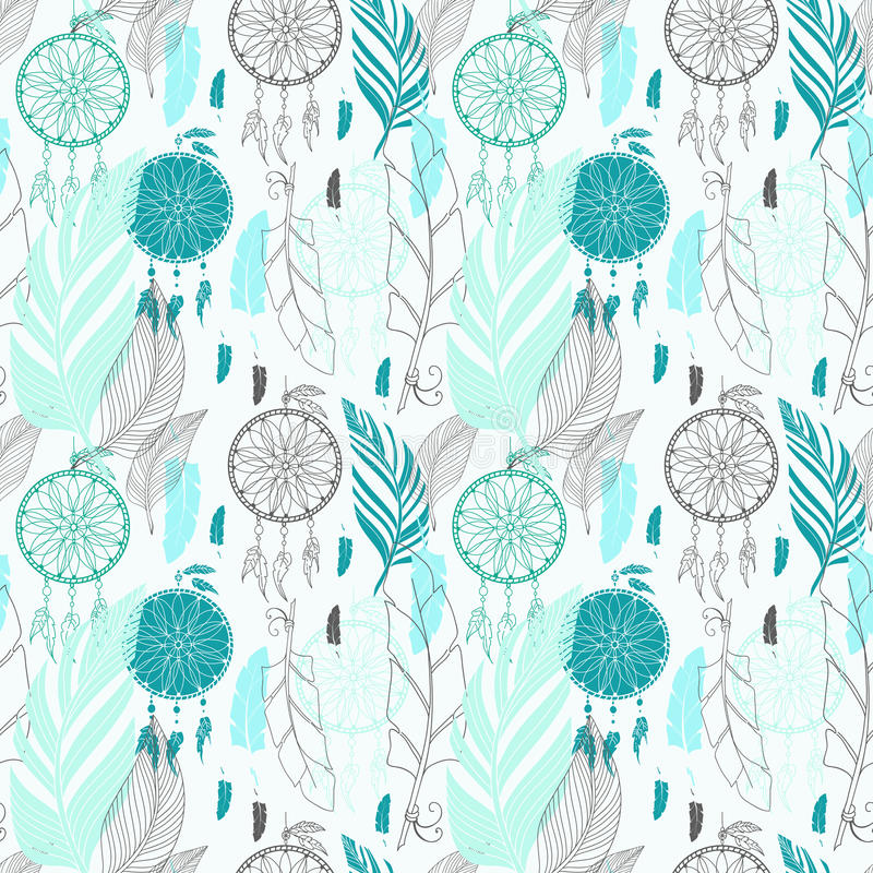 Dream catcher with feathers seamless pattern royalty free illustration