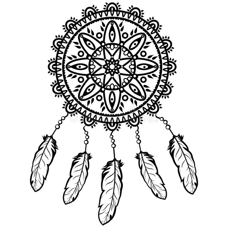 Dream catcher graphic in black and white decorated with feathers and beads giving its owner good dreams in mandala style royalty free illustration