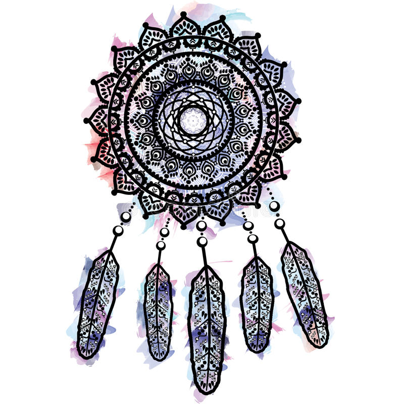 Dream catcher graphic in on watercolor background with mandala lace tattoo style decorated with feather, beads and ornaments. Symbolizing native American people vector illustration