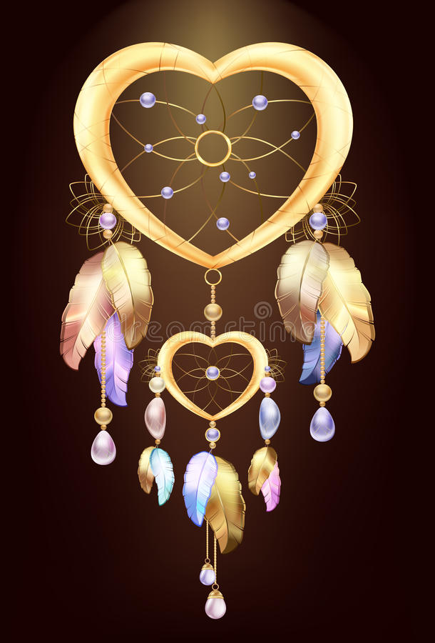 Dream catcher jewelry with feathers. Fantastic magic Dreamcatcher heart shaped colored metal and gold feathers and precious stones vector illustration