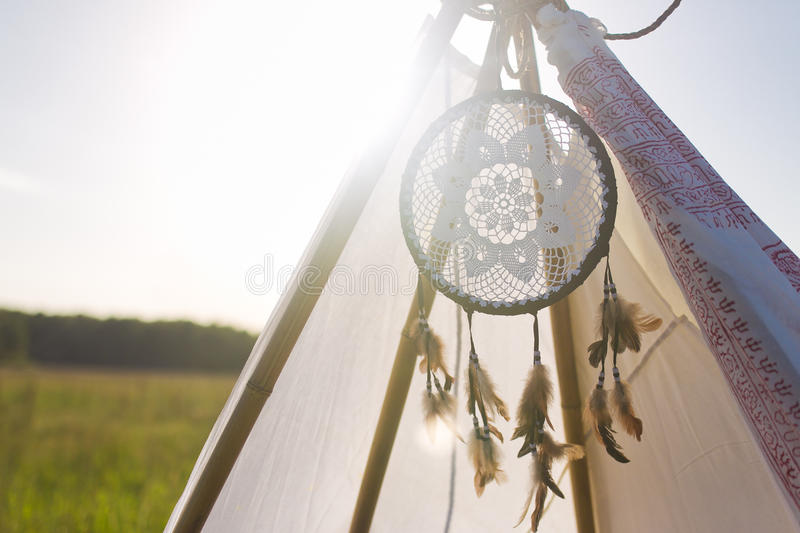 Dream Catcher. On lodge in nature royalty free stock photo