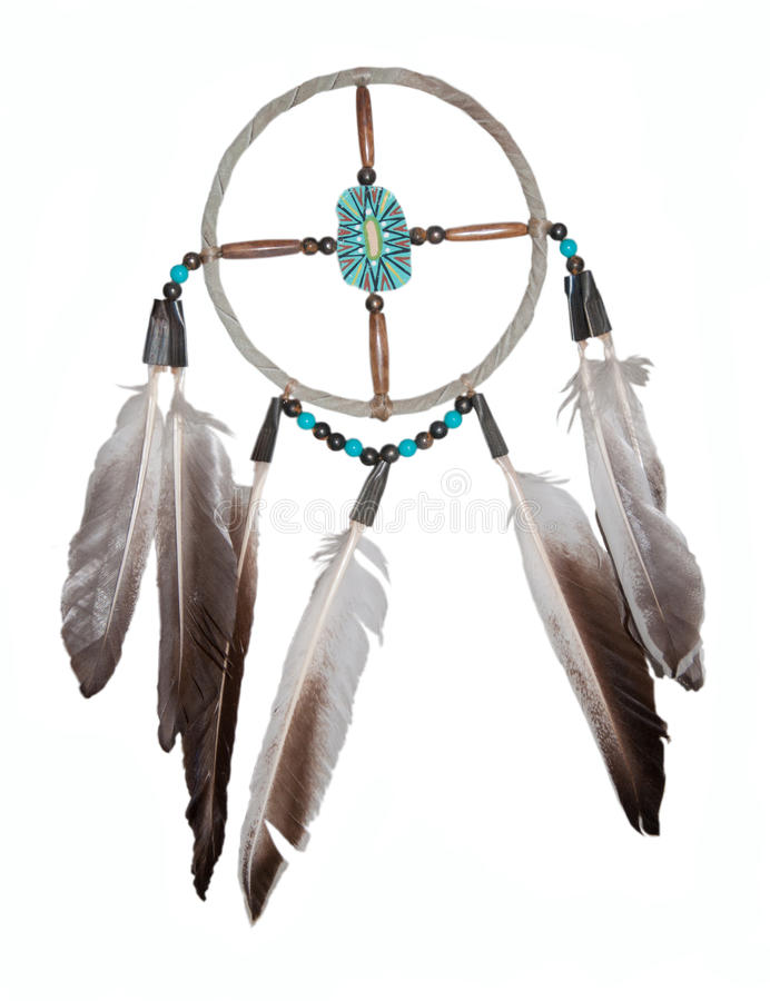 Dream catcher. Original handmade from an indian reservation in Arizona, United States - isolated on white royalty free stock photography