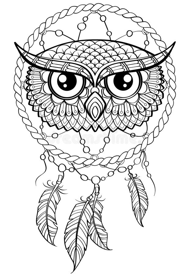 Dream catcher with owl. Tattoo or adult antistress coloring page. Black and white hand drawn doodle for coloring book. Vector illustration stock illustration