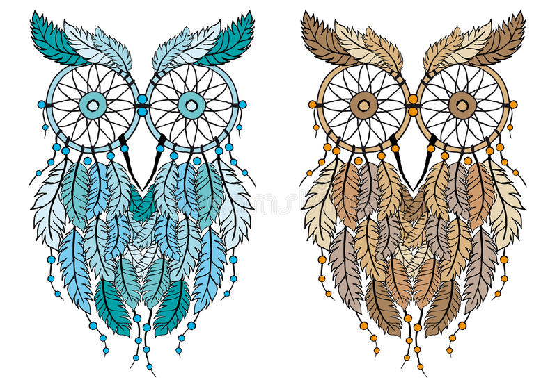 Dream catcher owl, vector. Dreamcatcher owl, hand-drawn vector illustration