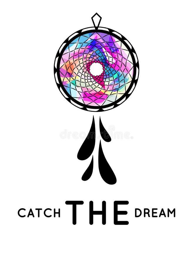 Dream catcher print, t-shirt-print, catch the dream print/logo/label. Abstract dream catcher stock illustration