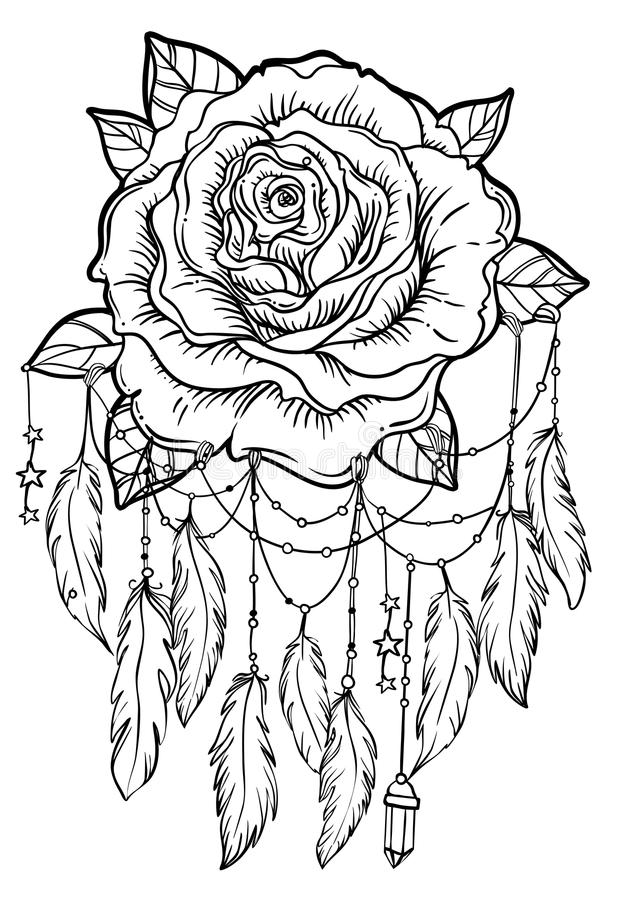 black and white dream catchers coloring pages | Dream Catcher With Rose Flower, Detailed Vector ...